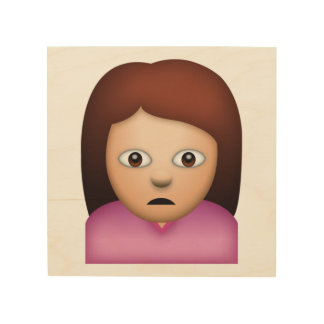 Woman Frowning - Emoji Wood Print