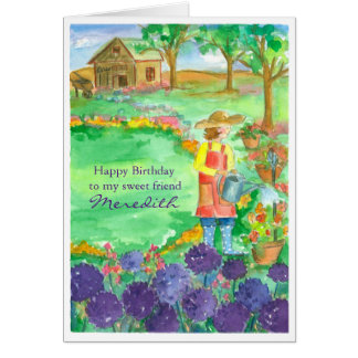 Woman Gardening Alliums Happy Birthday Friend Card