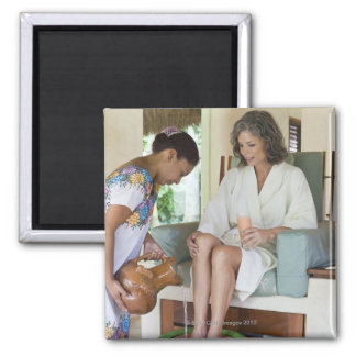 Woman getting a footbath at a spa in Mexico. Magnet