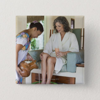 Woman getting a footbath at a spa in Mexico. Pinback Button