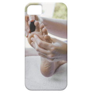 Woman getting foot massage with hot stone iPhone SE/5/5s case