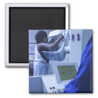 Woman getting mammogram 2 inch square magnet