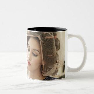 Woman Getting Manicure Two-Tone Coffee Mug