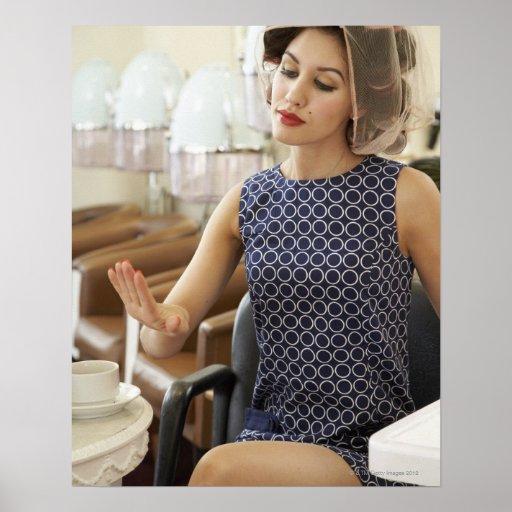 Woman Getting Manicure Print