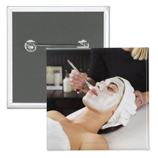 Woman Getting Spa Treatment. 2 Inch Square Button