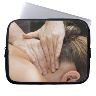 Woman getting spa treatment computer sleeves
