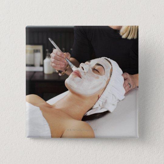 Woman Getting Spa Treatment. Pinback Button