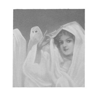 Woman Ghost Costume Trick Or Treat Notepad