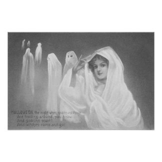Woman Ghost Costume Trick Or Treat Photo Print