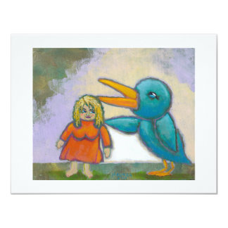 Woman giant bird played a joke odd unique art card