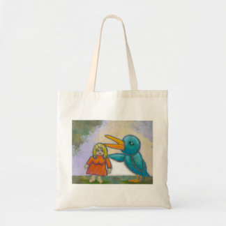 Woman giant bird played a joke odd unique art tote bag
