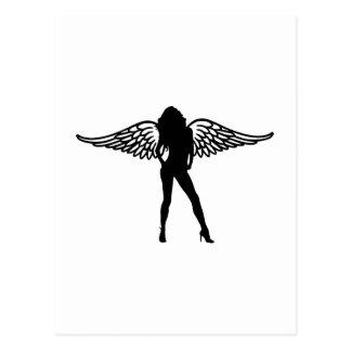 Woman girl wings postcard