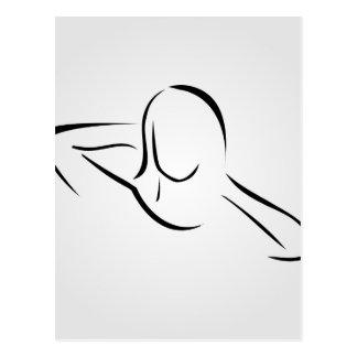 Woman giving herself a head massage postcard