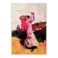 Woman Golfer - 1900's Vintage Canvas Print