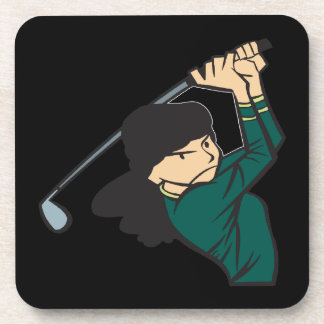 Woman Golfer Beverage Coaster