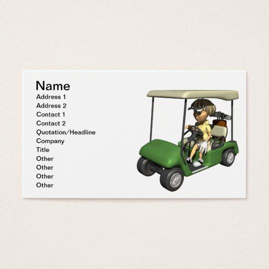 Woman Golfer Cart Business Card