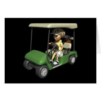 Woman Golfer Cart Greeting Card