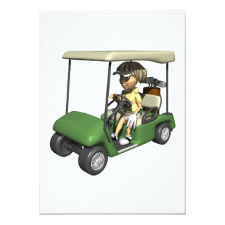 Woman Golfer Cart Card