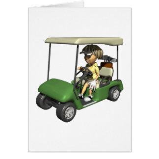 Woman Golfer Cart Card