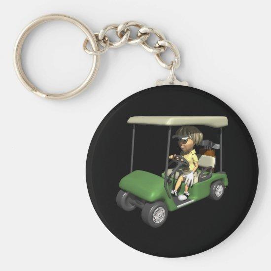 Woman Golfer Cart Keychain