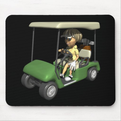 Woman Golfer Cart Mouse Pad
