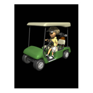 Woman Golfer Cart Postcard