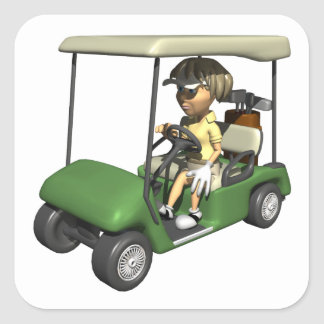 Woman Golfer Cart Square Sticker