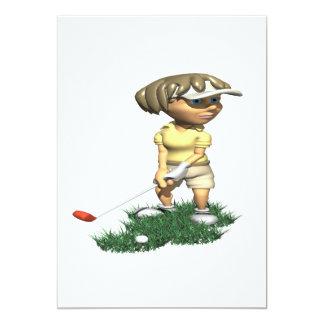 Woman Golfer 5x7 Paper Invitation Card