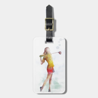 WOMAN GOLFER LUGGAGE TAG