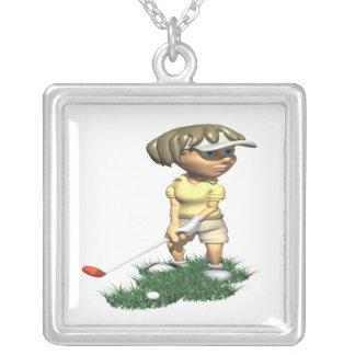 Woman Golfer Square Pendant Necklace