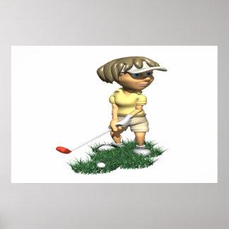 Woman Golfer Poster