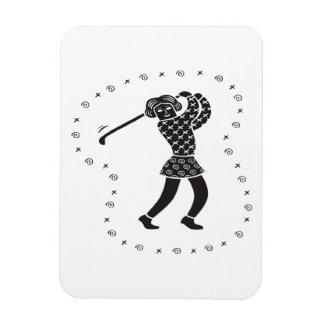 Woman Golfer Rectangle Magnets