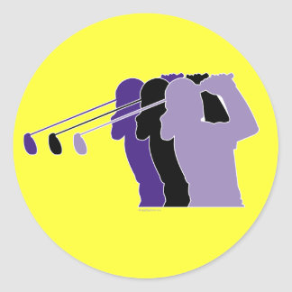 Woman Golfer Classic Round Sticker