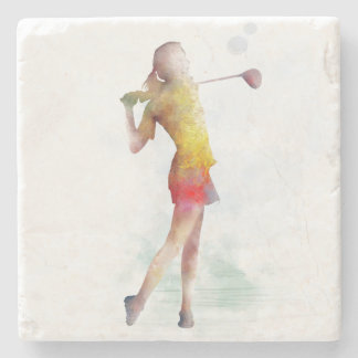 WOMAN GOLFER STONE COASTER