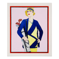 Woman Golfer - Vintage Golf Art On Canvas Poster