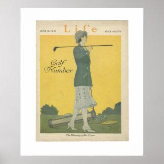 Woman Golfer Vintage Life Poster June 1921