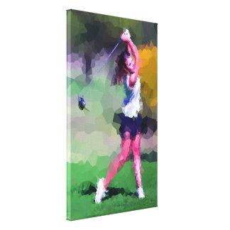 Woman Golfer - Wrapped Canvas