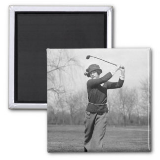 Woman Golfing: 1920s 2 Inch Square Magnet