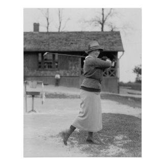 Woman Golfing, 1920s Poster