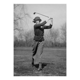 Woman Golfing: 1920s Poster