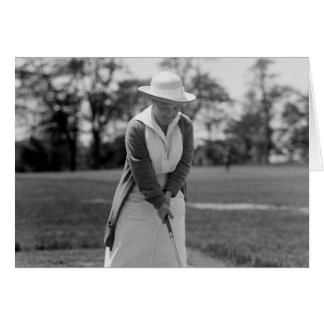 Woman Golfing, Vintage 1910s Greeting Card
