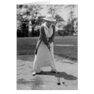 Woman Golfing, Vintage 1910s Card
