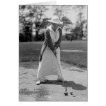 Woman Golfing, Vintage 1910s Greeting Card