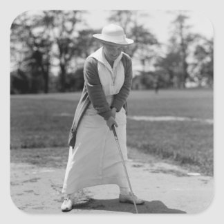 Woman Golfing, Vintage 1910s Square Sticker
