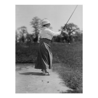 Woman Golfing Vintage Fashion, 1910s Poster