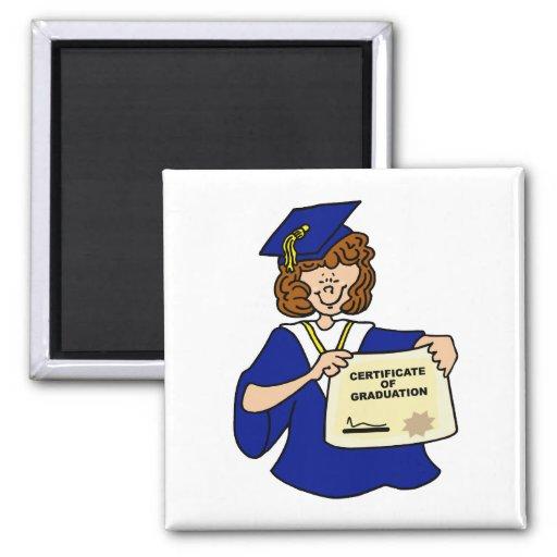 Woman Graduate Blue 2 Inch Square Magnet