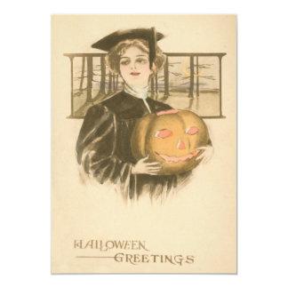 Woman Graduation Jack O' Lantern Pumpkin Card