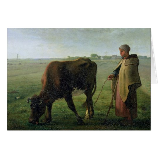 Woman Grazing her Cow, 1858 Card