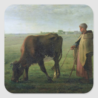 Woman Grazing her Cow, 1858 Square Sticker
