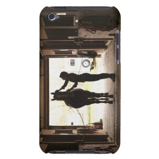 Woman grooming horse barely there iPod covers